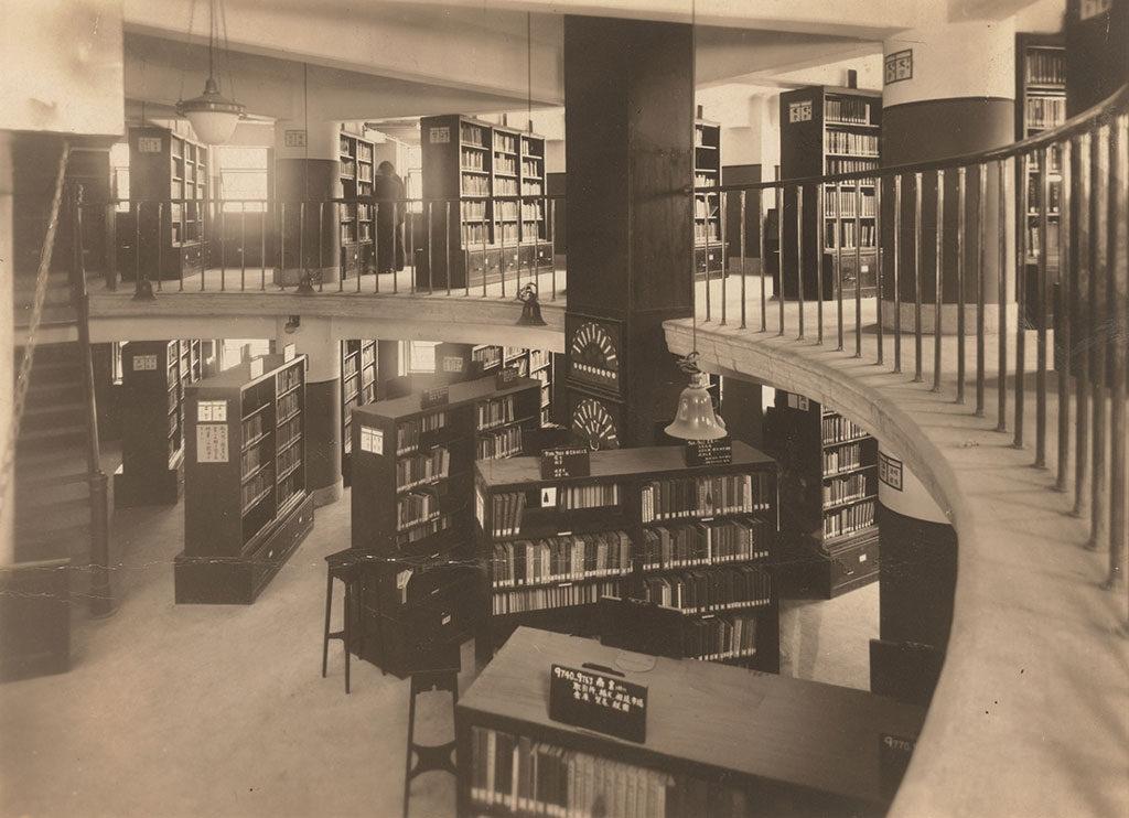 京橋図書館公開書架室 昭和4(1929)年