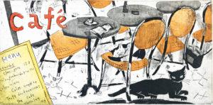 「 in the cafe 2 」©山岡 康子 版画作品
